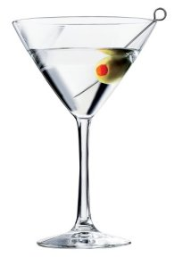 martini glass with green oliive