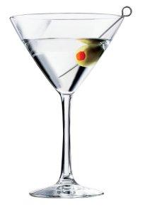 martini glass with green oliive