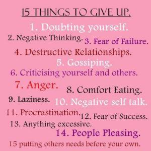 15 things to giveup